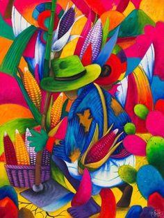 Harvesting Corn Art by Julian Coche Mendoza Mexican Artwork, Mexican Paintings, Mexican Folk Art, Colorful Paintings, Beautiful Paintings, Art Péruvien, Art Latino, Peruvian Art, Mexico Art