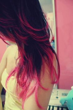 brunette and pink - I wish work would relax our dress standards... How awesome is this hair?!