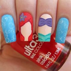 Little Mermaid nails Disney Acrylic Nails, Disney Nails, Cute Acrylic Nails, Cute Nails, Pretty Nails, Disney Nail Designs, Nail Polish Designs, Nail Art Designs, Nails For Kids