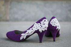 Purple Wedding Shoes, Purple Bridal Heels, Purple Heel with Ivory Lace US Size 7.5. $63.00, via Etsy.