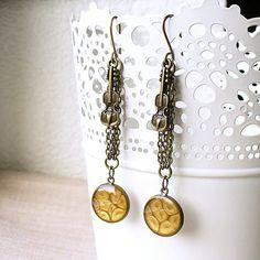 Golden Violin Long Chain Earrings Brass Dangle by StudioLadybird, $29.00