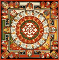 The Sri Yantra is an ancient Indian mandala depicting the vibrational form that rishis (seers) envisioned during meditation whilst chanting the seed syllable OM. Tantra, Motif Oriental, Indian Symbols, Yoga Symbols, Symbolic Representation, Spiritus, Buddhist Art, Sacred Art, Mandala Art