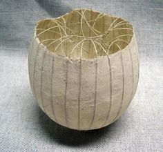BALL/BOWL (1985; paper bowl with handmade string) by Kay Sekimachi