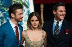 Emma Watson Photos Photos - (L-R) Actor Dan Stevens, Actress Emma Watson and Luke Evans arrive for the Asian premiere of the Disney Movie The Beauty and The Beast in Shanghai on February 27, 2017. / AFP / Johannes EISELE - Premiere of 'Beauty and The Beast' in Shanghai