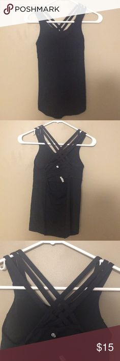 lululemon workout tank all black, built in bra with 2 pads, great criss cross back design. fitted at the bust and slightly flowy at the waist. bought from a fellow posher, wanted to love it but just too tight at the gut 😩 shirt is in fantastic condition. smoke free and pet free home. lululemon athletica Tops Tank Tops