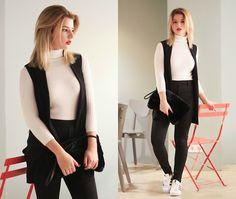 Vladyslava Kozachyshche - Shein Sweater, Lupsona Pants, Bershka Vest, Pull & Bear Bag, Adidas Sneakers - Official black and white