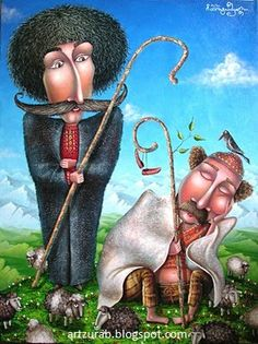 "Artist Zurab Martiashvili: 2011, ""Shepherds"" Unique Paintings, Colorful Paintings, Watercolor Paintings, Iranian Art, Jewish Art, Art Academy, Pop Surrealism, Naive Art, New Artists"