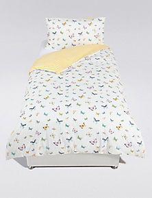 grid butterfly print bedding set