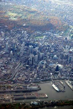 Aerial view of Montreal, Quebec, Canada. The metropolis of Montréal is named after Mt. Royal, the triple-peaked hill at its heart. Quebec Montreal, Montreal Ville, Quebec City, Montreal Travel, O Canada, Canada Travel, Alberta Canada, Ottawa, Voyage Canada