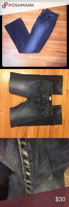 Hudson Jeans Hudson signature bootcut jeans in elm. Jeans are fitted from the waist to knees, then break into a bootcut for a balanced, feminine profile. Inseam-30 inches, rise-8 inches. Size 28. Some wear at the inner thighs (see pic 3) and color is somewhat faded from wear. Jeans still have a lot of life and some may prefer the 'broke in' styling :) Hudson Jeans Jeans Boot Cut