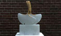 Marianne van den Heuvel, 'Gingko dans', Albast met bladgoud