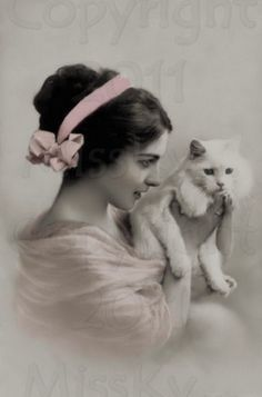 Vintage photo  Sweet Kitty and Lovely woman by MsAlisEmporium,