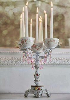 tea cup candleabra