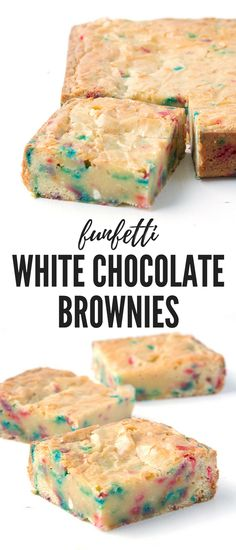 White Chocolate Brownies (real chocolate) *Use red & green/xmas colours sprinkles for Xmas gifts Just Desserts, Delicious Desserts, Dessert Recipes, Yummy Food, Healthy Food, Tasty, White Chocolate Brownies, Chocolate Desserts, Chocolate Sprinkles