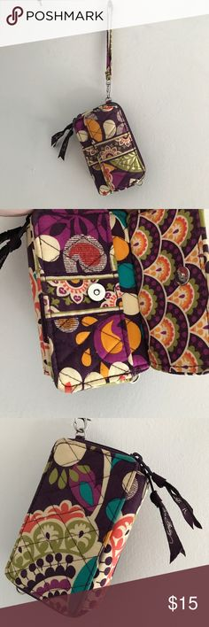 """Vera Bradley - purple wristlet / cell phone wallet Like New VB wristlet Cell pocket with button closure  fits iPhone 6/7 with slim case on Two zipped pockets for wallet  Discontinued """"Plumb Crazy"""" pattern Vera Bradley Bags Clutches & Wristlets"""