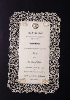 Ivory Or Black Lace Lasercut Wedding Invitation With Brooch Embellishment