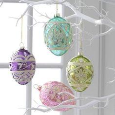 """4"""" mercury glass egg ornaments"""