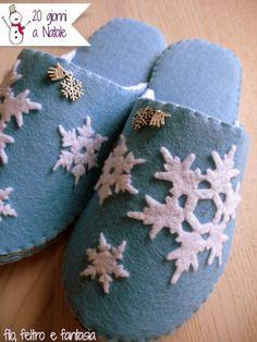 Spiegazioni e Cartamdoello per cucire pantofole in feltro.