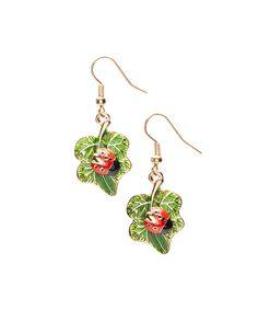 Green Ladybug Drop Earrings