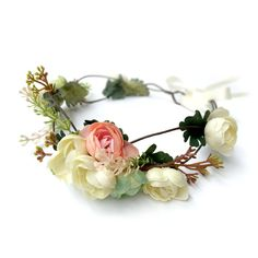 Woodland Blush, Ivory & Green Flower Crown, Boho Wedding, Ivory, Bridal Headpiece, Floral Crown, Hair Wreath, Weddings, Flower Head Piece