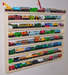 Train Track Rack...ok this rack has a TON of trains, but I do like the idea with…