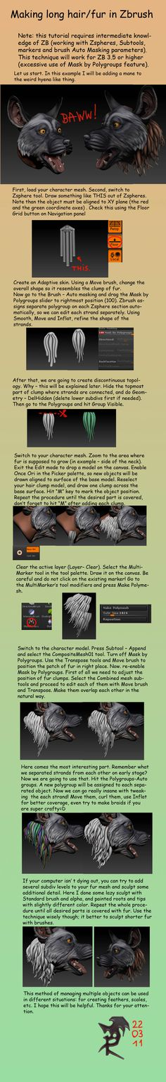 Making long fur in Zbrush by ~DeckardX08 on deviantART #3d #sculpting #tutorials