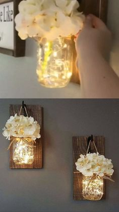 31 Genius Diy Home Decor Projects You Will Fall In Love With! 12 31 genius diy home decor projects you will fall in love with! 12 Diy Home and Decorations diy home decor projects Mason Jar Sconce, Hanging Mason Jars, Mason Jar Lighting, Diy Home Decor Rustic, Diy Home Decor On A Budget, Diy Home Decor Projects, Farmhouse Decor, Decor Ideas, Decorating Ideas