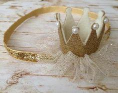 Gold crown headband, Glitter crown headband, Felt Crown, Tutu, Birthday photo prop, 1st birthday headband, Gold Pink Silver headband