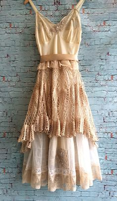 tea stained & cream lace crochet tulle organza asymmetrical hem boho princess dress by mermaid miss k