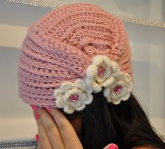 Cute Crochet Cameo Pink Hat with Flowers. $20.00, via Etsy.