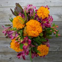 Unique Fall Bouquet :  Bonfire  - Marigolds, Alstroemeria, Safari Sunset, and accents