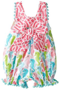 Amazon.com: Mud Pie Baby Girls' Seahorse Romper, Multi, 12 18 Months: Clothing