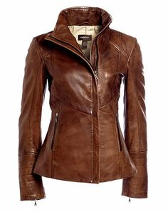 Gorgeous side zipper brown leather jacket. I would give up my right kidney.