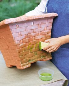 Weathering Plastic Pots: A simulated patina helps faux-clay plastic pots blend in with those made from real terra-cotta. The best candidates for artificial weathering are those with many nooks and crannies, such as this basket-weave planter. You will need acrylic paint in white, lime green, and moss green. - Martha Stewart Crafting