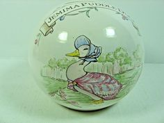 """Collectible Ceramic Beatrix Potter JEMIMA PUDDLE-DUCK Coin Bank 3 1/8"""" Tall x 4"""""""