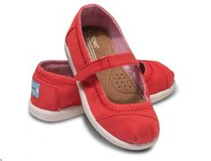 Red Canvas Mary Janes