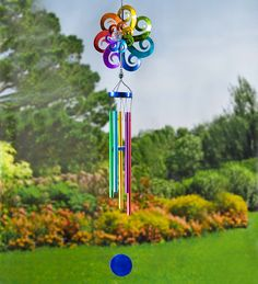 Large Hanging Solar Spinner Wind Chime Glamping Chime Decorate an RV or trailer site with these super cute chimes Garden Spinners, Wind Spinners, Solar Wind Chimes, Solar Path Lights, Crackle Glass, Visual Effects, Yard Art, Rainbow Colors, Outdoor Decor