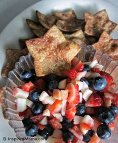 Patriotic Fruit Salsa and Star Chips