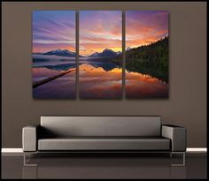 Glorious Glacier Sunrise Montana 3 Piece Fine Art Canvas Wall Display Tags