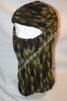 this would be good for keeping warm on really cold days working outside - Crochet camo headgear