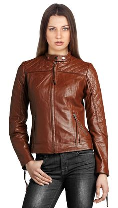 New Women's Leather Motorcycle Biker Jacket 100% Genuine Soft Lambskin #N94 #NationalLeather #MotorcycleBomber