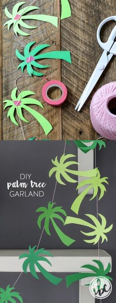 Palm Tree Garland - party printable, tropical party, flamingo party, beach party ideas