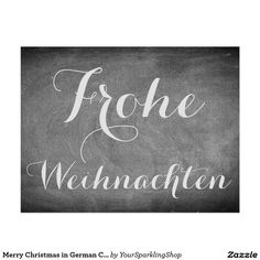 Merry #Christmas in #German Chalkboard Typography #Card
