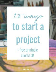 13 Ways to Start a Project. Includes free printable list - download, print, pick… Painting Videos, Painting Lessons, Diy Painting, Art Lessons, Art Courses, Art Journal Techniques, Painting Techniques, Painting Process, Art Prompts