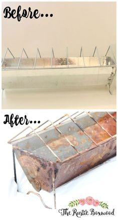 This chicken feeder is easily transformed into a rustic plate rack with a faux patina!  It's so easy to do! | The Rustic Boxwood | diy, how to, tutorial, rustic, farmhouse style, chicken feeder, plate rack, buffet style