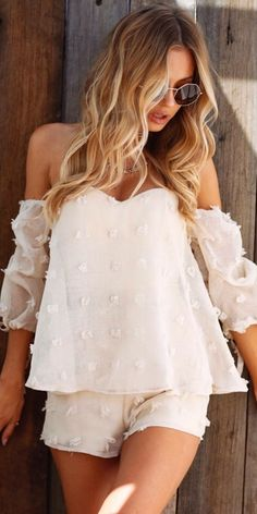 #summer #outfits White Polka-dot Off The Shoulder Top & Short ✨