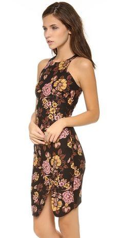 ELIZABETH & JAMES Wool Blend SHEATH Bardot DRESS Brown Floral SOLD-OUT 2 $385 #ElizabethJames #RacerbackAsymmetrichemLined