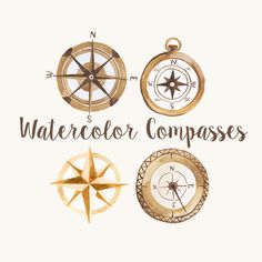 This is a listing for hand painted watercolor clipart of Vintage style compasses. My clip art is ideal for graphic design, digital