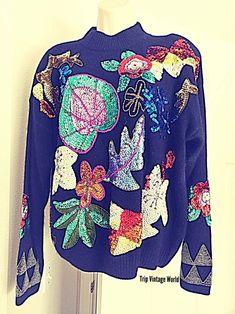 Gladys Bagley Vintage Sweater Black Sequin Embellished Mock Turtleneck Chistmas Jumper Floral Design Silk Nylon Angora New With A Tag by TripVintageWorld on Etsy
