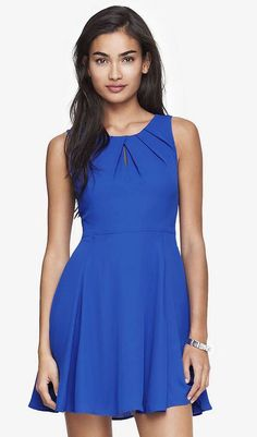 Pleated Keyhole Fit and Flare Dress, Blue (Express) 80, 32